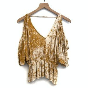Free People Yellow Gold Cold Shoulder Top- Size XS